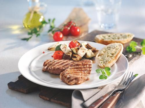 American BBQ Steaks with Grilled Feta Vegetables and Garlic Bread