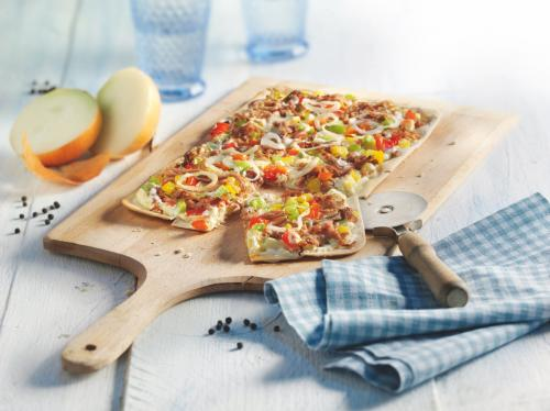 Pulled Veal Tarte Flambée (Flammkuchen) with Rainbow Peppers