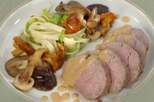 Slow-cooked veal tenderloin with chantarelle