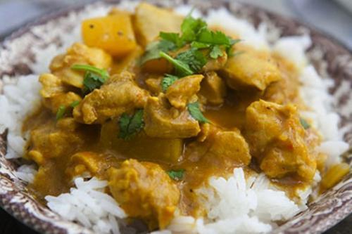 Kalfscurry met rijst