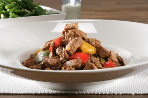 Spanish veal stew with dried mushrooms and a green bean salad