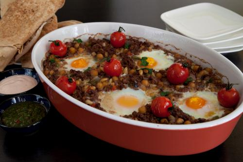 Mince casserole with stewed egg and harissa