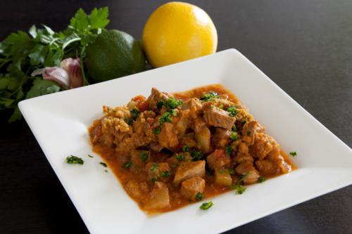 Mediterranean stew under a crispy crust of hazelnuts, lime and honey