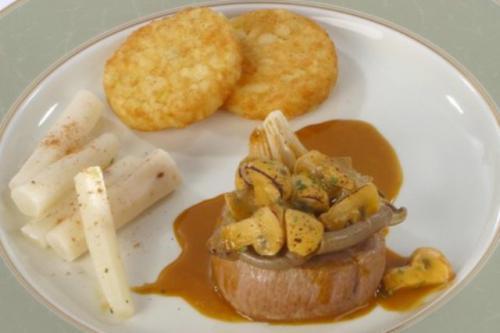 Steak of Roasted veal Tenderloin with mushrooms