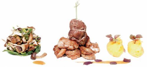 Duo van kalfszwezerik en wang, beukenzwammen, zoete aardappel en jus met Banyuls