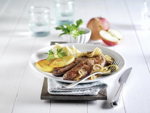 Kalbsleber mit Apfelringen, Zwiebeln und Kartoffelpüree