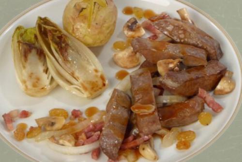 Stir-fried Calf liver, Bourguignonne style