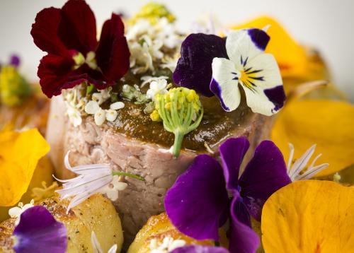 Haas met harissa, basilicumgnocchi en wilde bloemen