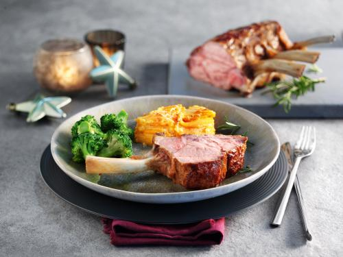 Frenched rack of veal with sweet potato gratin and broccoli